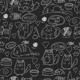 Cute doodle cats, kitty Domestic cats Vector sets with cute kittens for pet shop, cattery, veterinary clinic Seamless Royalty Free Stock Photography