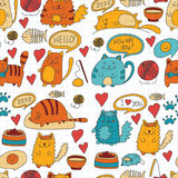 Cute doodle cats, kitty Domestic cats Vector sets with cute kittens for pet shop, cattery, veterinary clinic Seamless Royalty Free Stock Photo