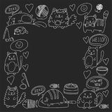 Cute doodle cats, kitty Domestic cats Vector sets with cute kittens for pet shop, cattery, veterinary clinic Doodle Stock Images