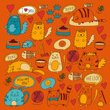 Cute doodle cats, kitty Domestic cats Vector sets with cute kittens for pet shop, cattery, veterinary clinic Doodle Royalty Free Stock Images