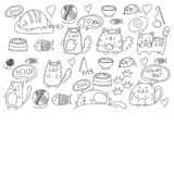 Cute doodle cats, kitty Domestic cats Vector sets with cute kittens for pet shop, cattery, veterinary clinic Doodle. Pattern for banner, posters, textile Stock Photography
