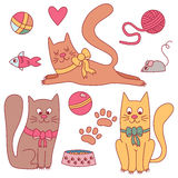 Cute doodle cats with toys vector set Stock Image