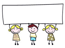 Cute doodle children holding blank banner sign. Happy cute little girls and boy holding empty blank banner - cartoon illustration Stock Photo