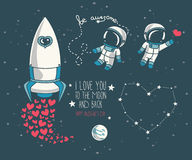 Cute doodle cosmic elements for valentine's day design Royalty Free Stock Photos