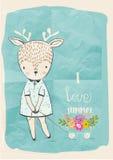 Cute doodle deer Royalty Free Stock Image