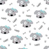 Cute doodle dogs seamless pattern Stock Photo