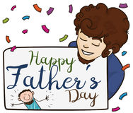 Cute Doodle Drawing in Sign for Dad in Father`s Day, Vector Illustration. Poster with young dad holding a sign with doodle drawing from his son celebrating royalty free illustration