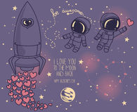 Cute doodle elements for valentine`s day Royalty Free Stock Photography