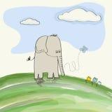 Cute doodle elephant Stock Image