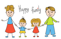 Cute doodle family Royalty Free Stock Photos