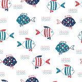 Cute doodle fish seamless pattern. Royalty Free Stock Images