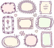 Cute doodle floral frame set Royalty Free Stock Photo