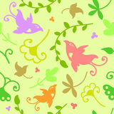 Cute doodle floral seamless pattern with birds Royalty Free Stock Photo