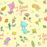 Cute doodle floral seamless pattern with cats and birds Royalty Free Stock Photography