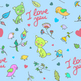 Cute doodle floral seamless pattern with cats and birds Stock Photo
