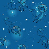 Cute doodle fox-astronauts floating in space Royalty Free Stock Images