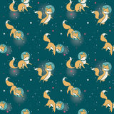 Cute doodle fox-astronauts floating in space Royalty Free Stock Photos