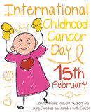 Cute Doodle Girl Drawing for International Childhood Cancer Day, Vector Illustration. Poster for International Childhood Cancer Day with little girl winning the Stock Photos