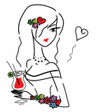 Cute doodle girl with drink Royalty Free Stock Images