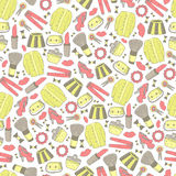 Cute doodle girl fashion seamless pattern. Stock Photography