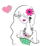 Cute doodle girl with heart. Illustration of a doodle girl Royalty Free Stock Photos