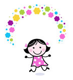 Cute doodle girl juggling with flowers Royalty Free Stock Image