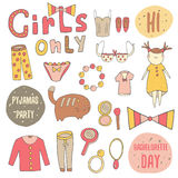 Cute doodle girl objects collection Royalty Free Stock Photography