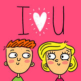 Cute doodle greeting card with happy couple Stock Image