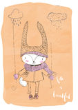 Cute doodle hare Royalty Free Stock Images
