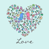 Cute doodle heart with floral background and birds Royalty Free Stock Image