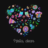 Cute doodle heart with floral background and space for text. Royalty Free Stock Photo