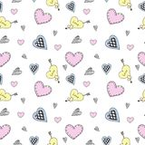 Seamless heart doodle pattern vector. Cute of doodle heart pattern vector on white background eps 10 Royalty Free Stock Photo