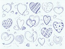Cute doodle hearts, love ball pen drawn Royalty Free Stock Image