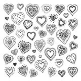 Cute doodle hearts. Royalty Free Stock Photography