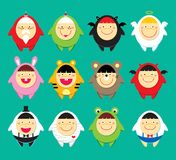 Cute doodle icons. A series of merry cute doodles icons Stock Photo