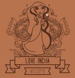 Cute doodle indian girl Royalty Free Stock Photos