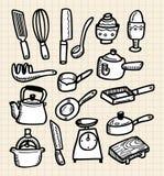 Cute doodle kitchen Stock Images