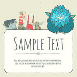 Cute doodle monster greeteng or invitation card Stock Image
