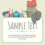 Cute doodle monster greeteng or invitation card Royalty Free Stock Images