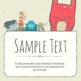 Cute doodle monster greeteng or invitation card Royalty Free Stock Photos