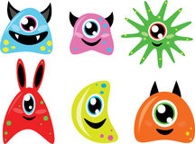 Cute doodle monsters. Set of six funny doodle monsters Stock Photo
