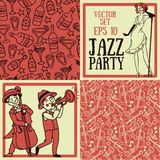 Cute doodle musicians in retro style, jazz or blues music band and seamless patterns for party Royalty Free Stock Photography