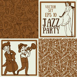 Cute doodle musicians in retro style, jazz or blues music band and seamless patterns for party. Set of vector illustrations: cute doodle musicians in retro style stock illustration
