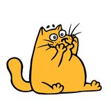 Cute doodle orange cat with mad face. Vector Illustration. Stock Photos