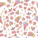 Cute doodle pattern with ice cream, cherry, stars, diamonds etc. Pastel colors. Vector art. Cute doodle pattern with ice cream, cherry, stars, diamonds etc stock illustration
