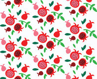Cute Doodle Pomegranate Seamless Pattern Stock Images