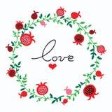 Cute doodle pomegranate wreath vector illustration Stock Photos
