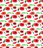 Cute doodle poppies seamless pattern Royalty Free Stock Images
