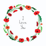 Cute doodle poppy wreath vector illustration Stock Photography