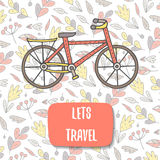 Cute doodle postcard, card, cover with bike. Royalty Free Stock Photo